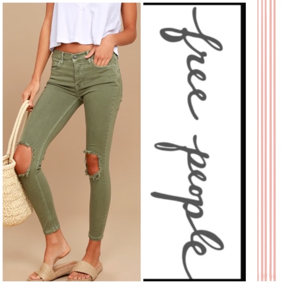 b8c5cbae0 Free People Jeans | Busted Knee Green | Poshmark